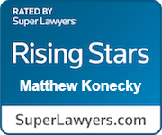 Logo Recognizing The Law Office of Matthew Konecky, P.A.'s affiliation with Super Lawyers Rising Stars
